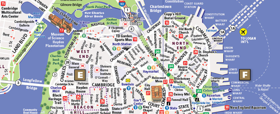 Boston Map by VanDam Boston StreetSmart Map – Boston Tourist Map