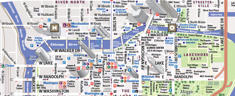 Chicago Map By Vandam Chicago Map Pack Map City Street