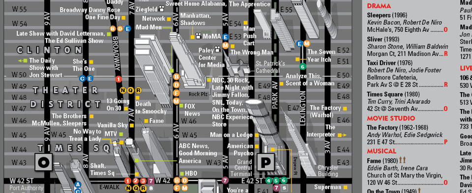 VanDam NYC Classic Movie & TV map detail