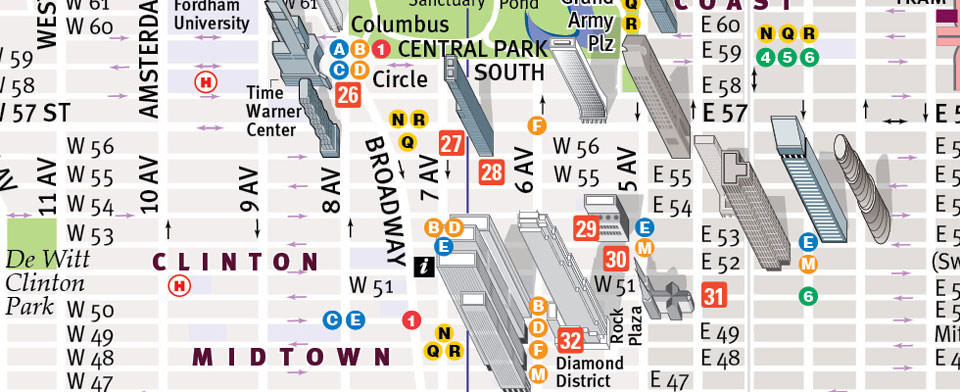 Manhattan Map by VanDam NYC PopUp Map – Manhattan Map of Attractions