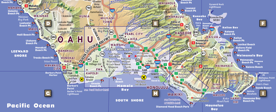 Hawaii Map By Vandam Oahu Pop Up Map City Street Maps Of Hawaii