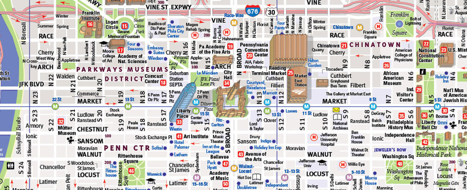 Philadelphia Map by VanDam Philadelphia StreetSmart Map – Philadelphia Tourist Map