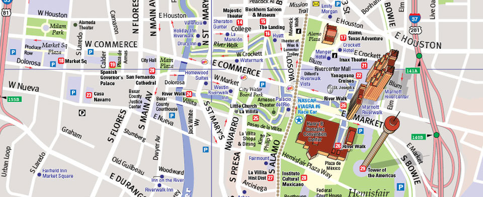 San Antonio Map by VanDam San Antonio StreetSmart Map City