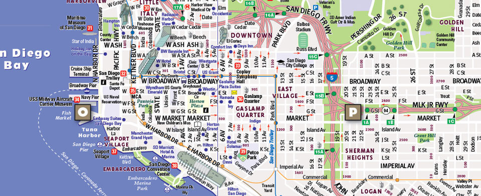 San Diego Map City.San Diego Map By Vandam San Diego Streetsmart Map City Street