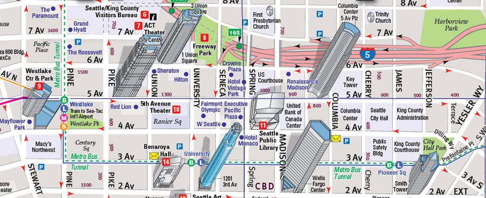 Downtown Seattle Hotels Map on