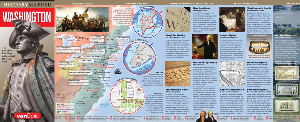 VanDam History Mapped Presidential Maps Of The Lives Of Abraham - Map of us when george washington was president