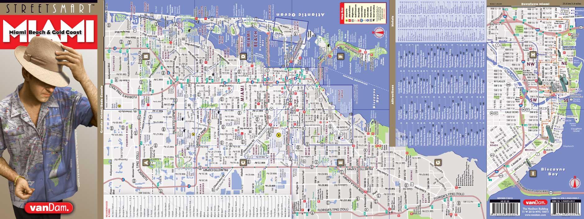 miami mapvandam   miami streetsmart map   city street