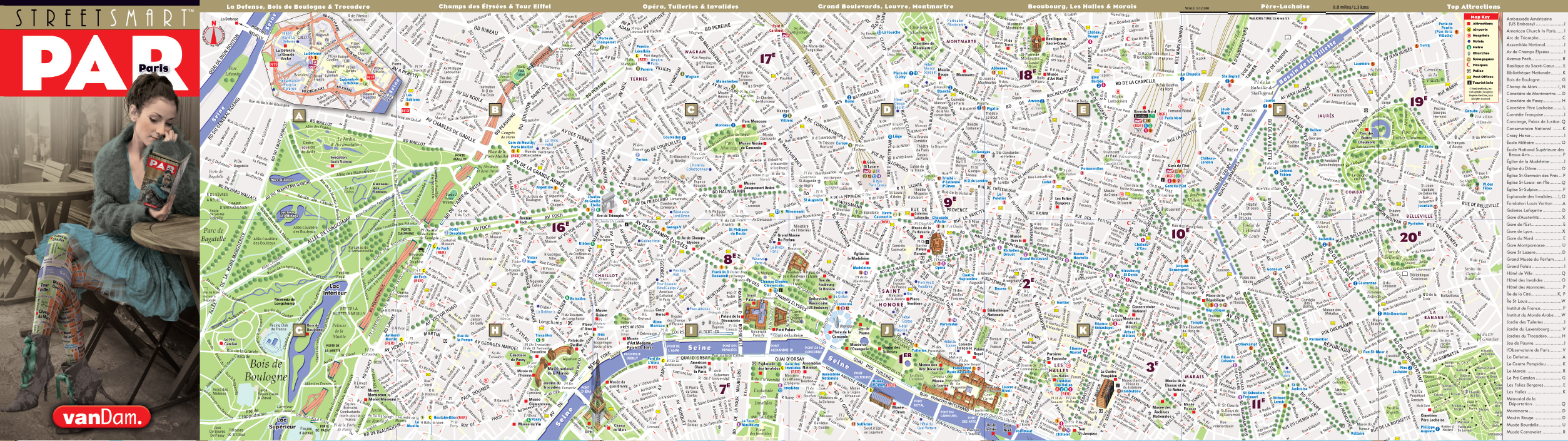 Extrem Paris Map by VanDam | Paris StreetSmart Map | City Street Maps of  LB22