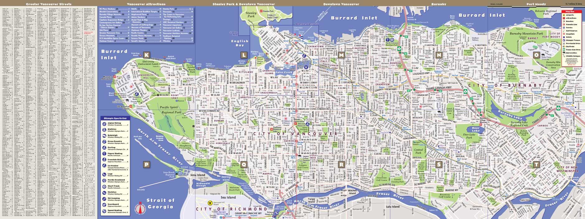 Vancouver Map by VanDam Vancouver StreetSmart Map City Street
