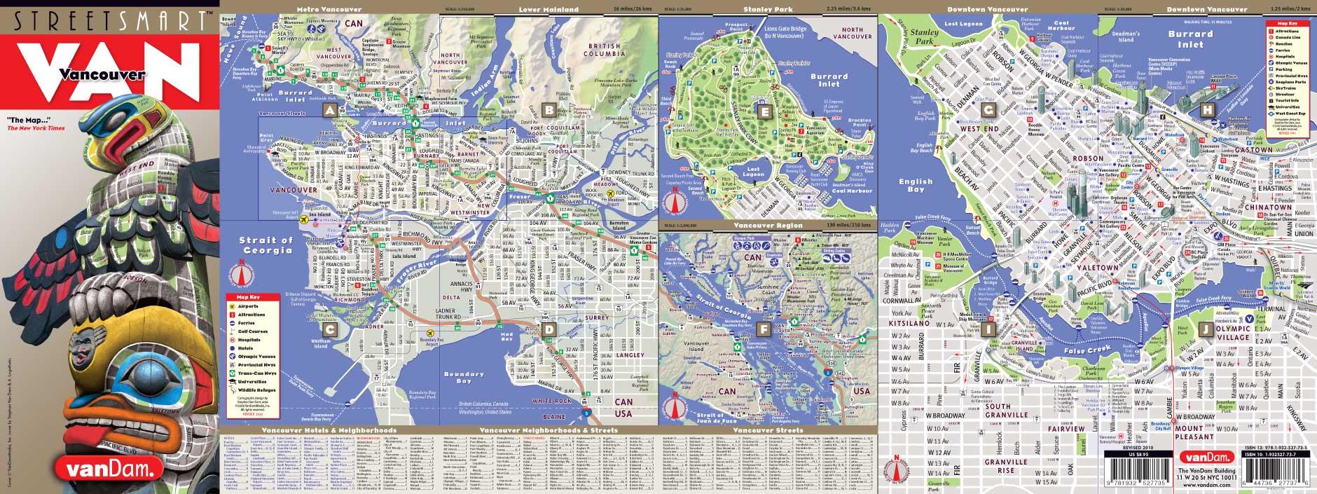 Vancouver Map By VanDam Vancouver StreetSmart Map City Street - Nyc unfolds map