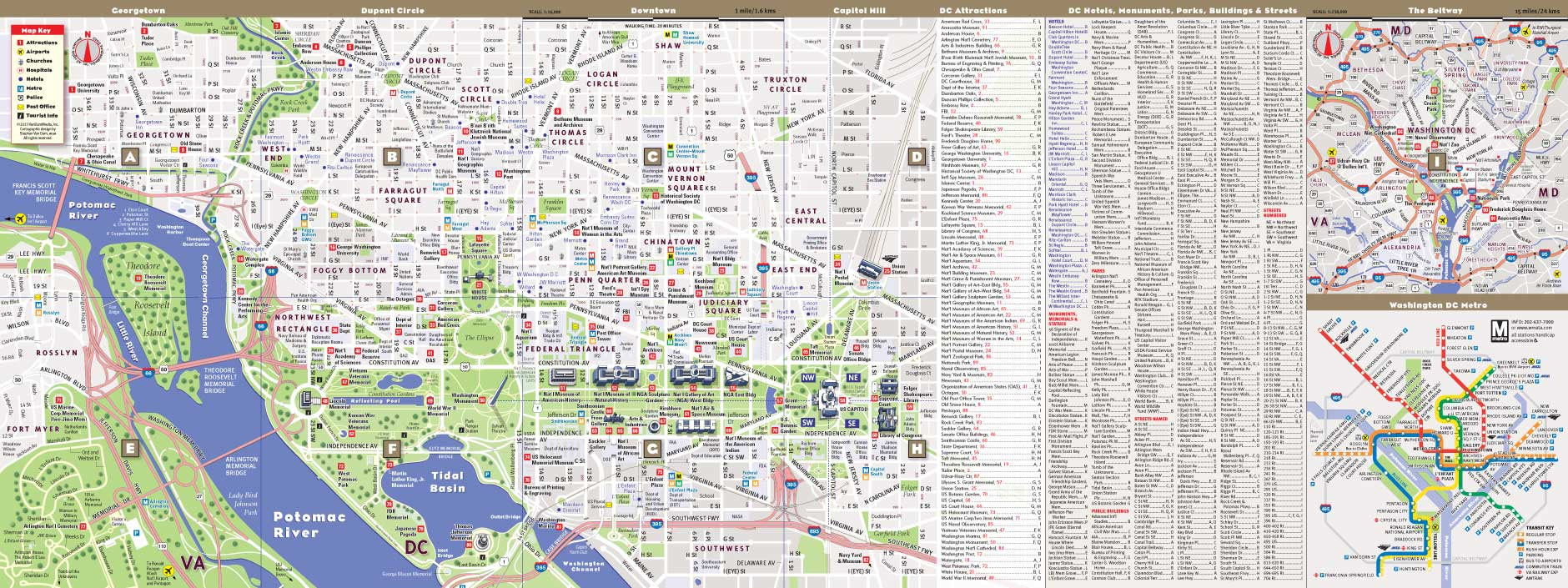 Washington Dc Map By Vandam Washington Dc Mallsmart Map City