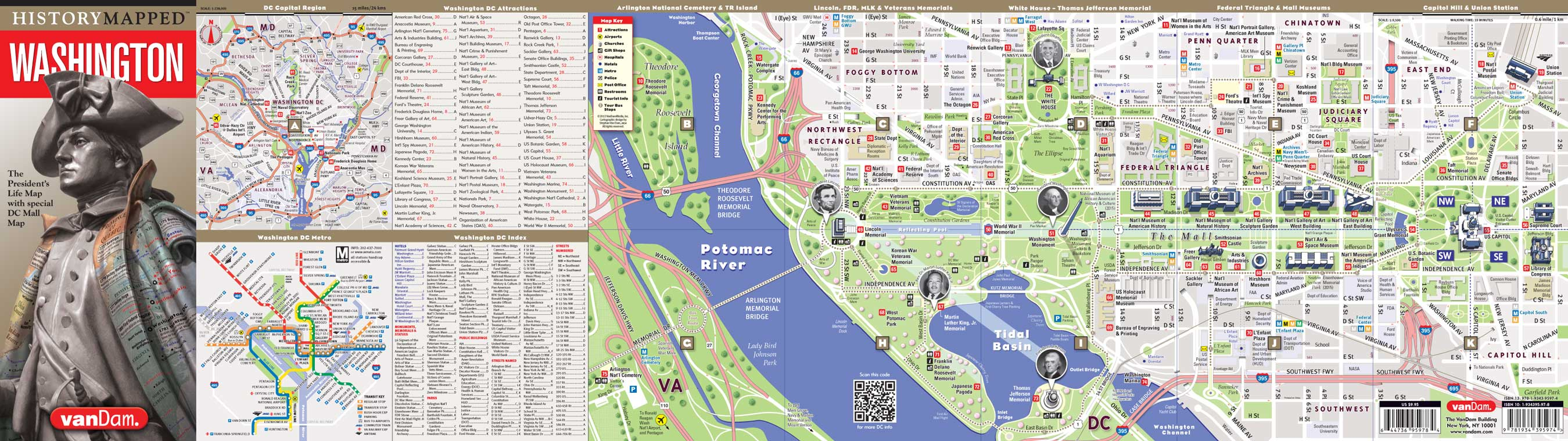 Washington Presidential Map Capital Edition by VanDam History