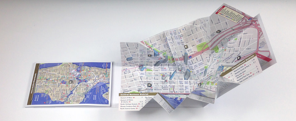 Seattle Map by VanDam Seattle PopUp Map City Street Maps of